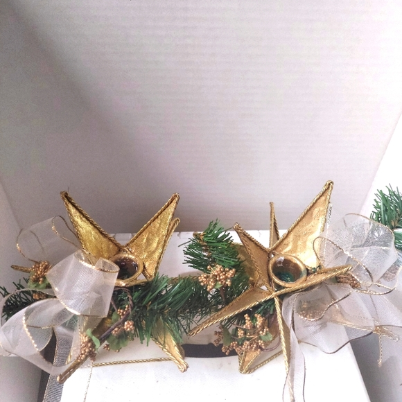 Christmas Gold Etched Glitter Candle Holder Pair